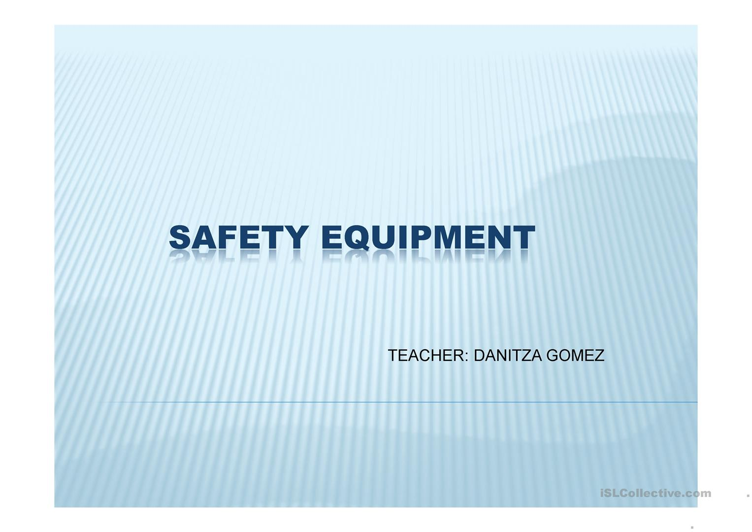 Safety Equiment Worksheet