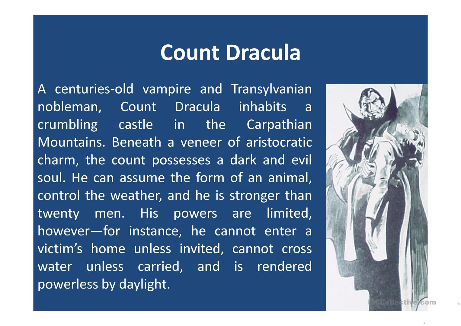 Dracula Elements Of A Story Worksheet