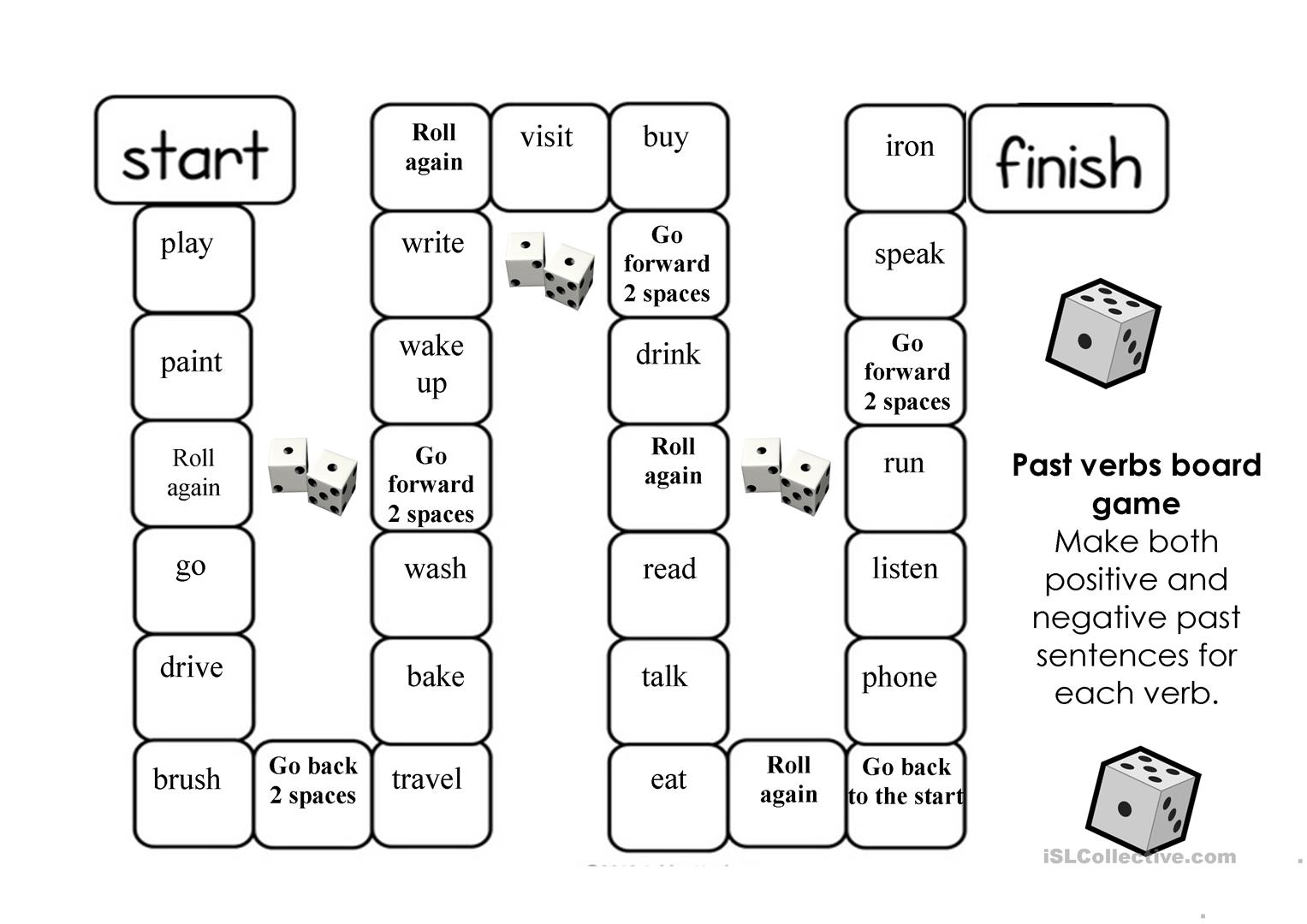 Past Tense Verbs Board Game