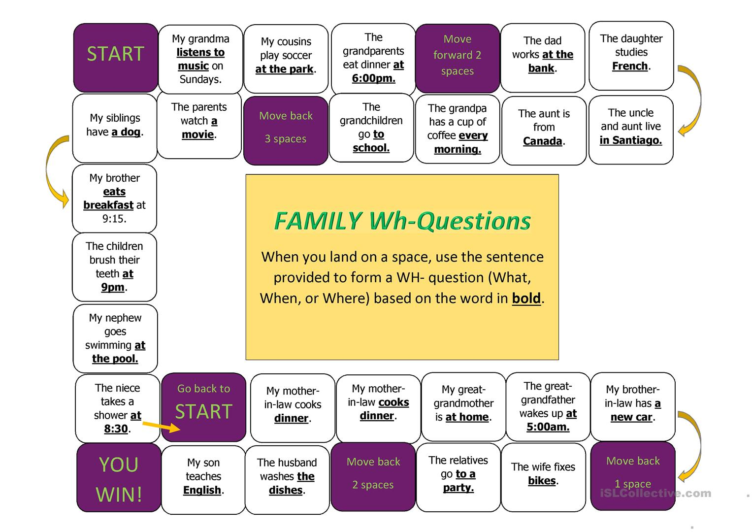 Wh Questions Board Game With Family Vocabulary