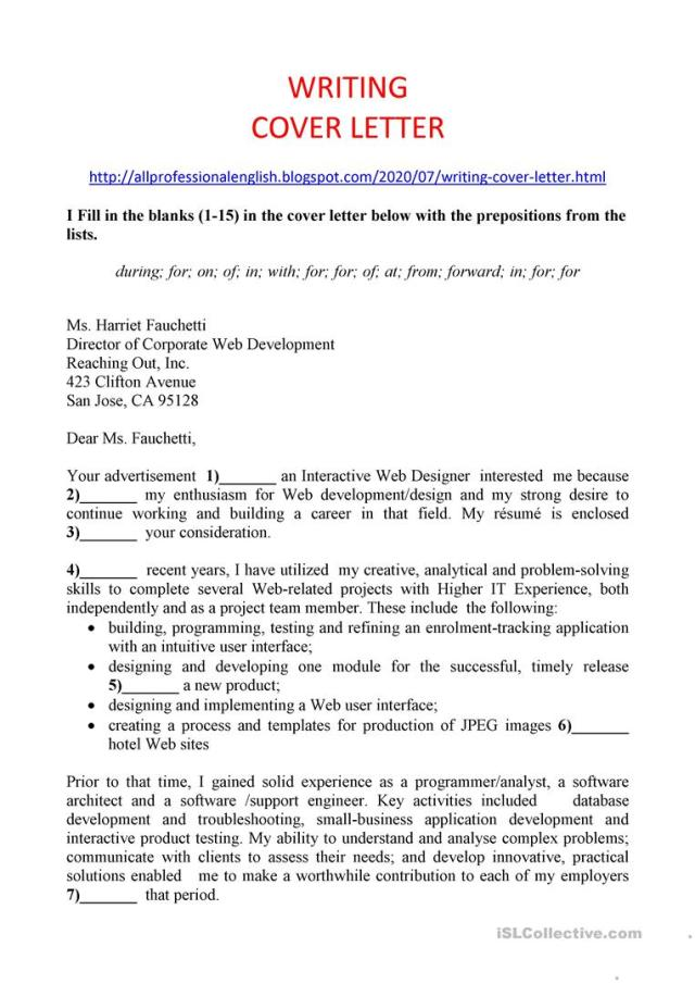 WRITING COVER LETTER - English ESL Worksheets for distance
