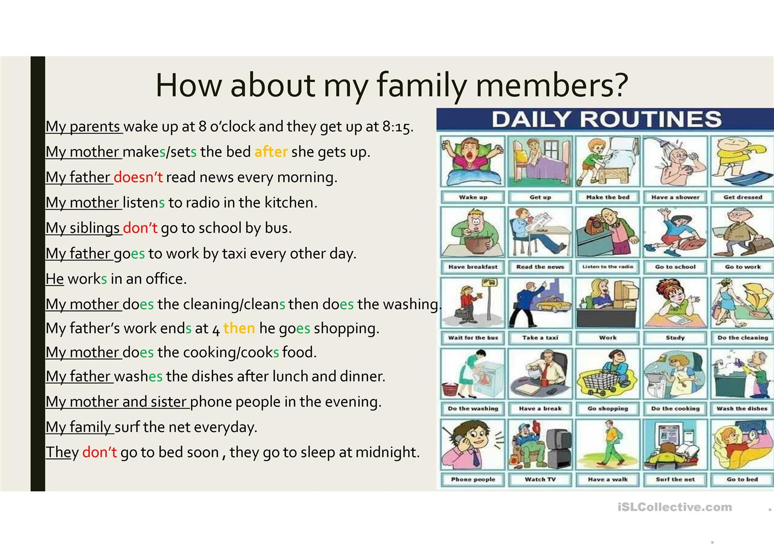 Simple Present Daily Activities