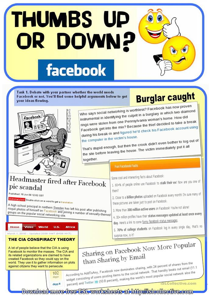 20 Free Esl Facebook Worksheets