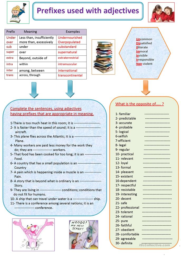 Prefixes Used With Adjectives Worksheet