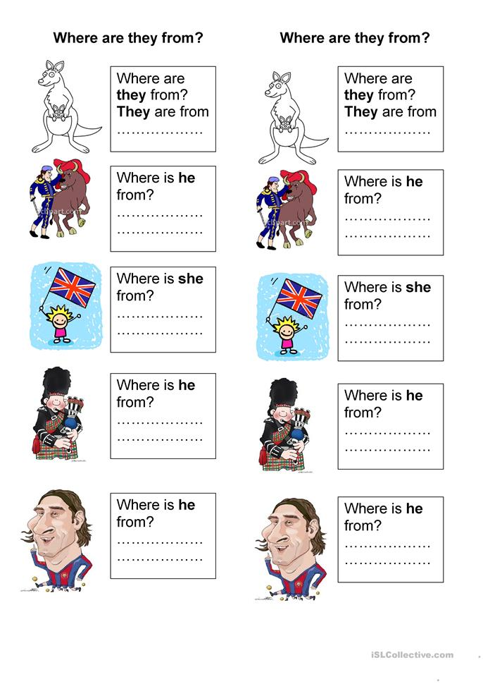 Where Are They From Worksheet