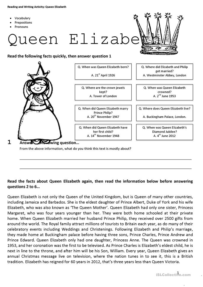 Prepositions And Pronouns Comprehension Worksheet