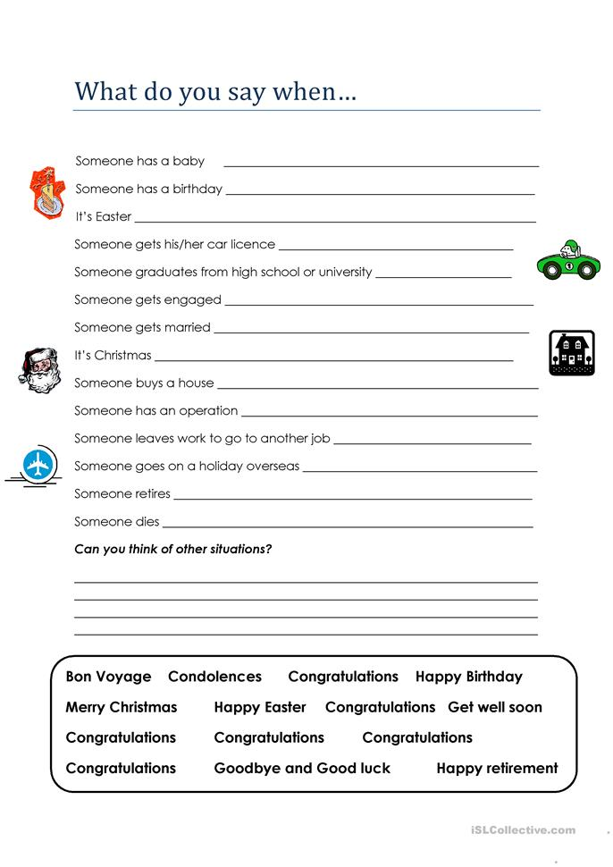 Real English What Do You Say When Worksheet