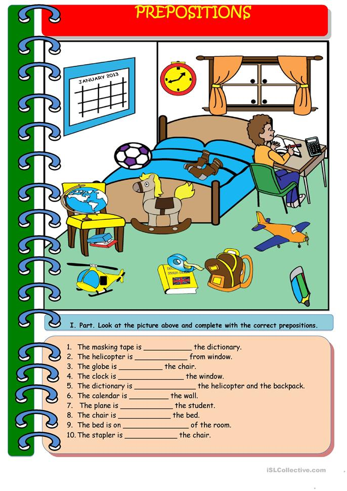 My Bedroom And Prepositions I Drew The Picture