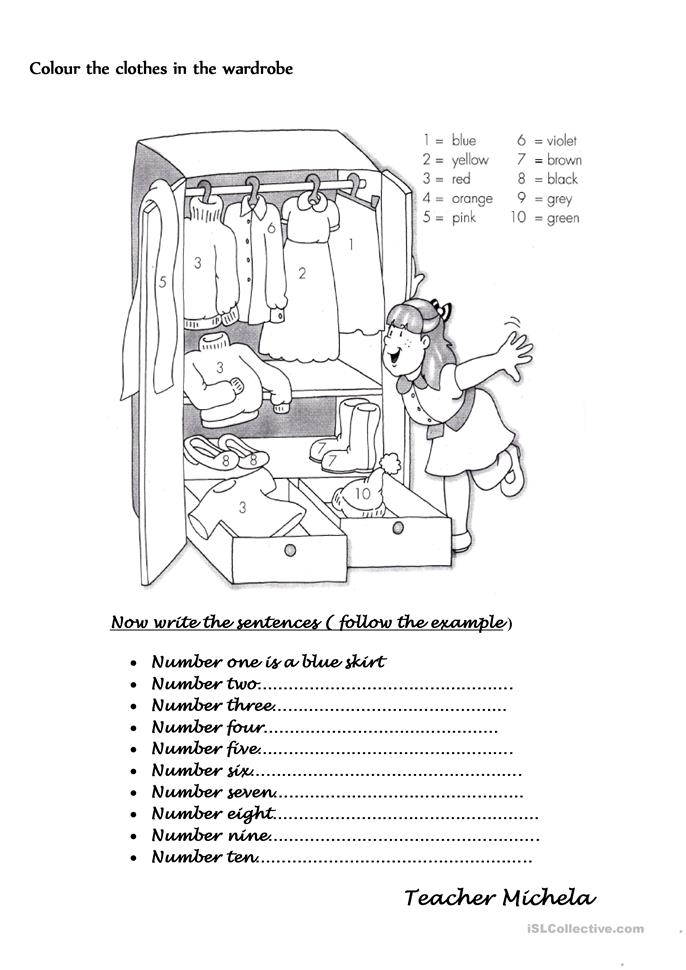 Colour The Clothes In The Wardrobe Worksheet