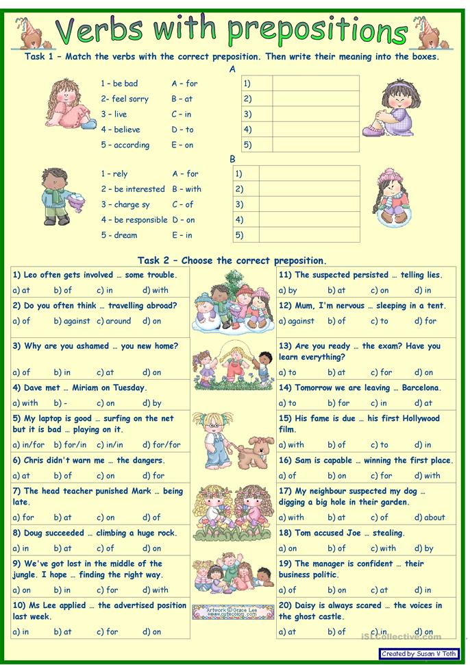 Verbs With Prepositions 2 For Intermediate And