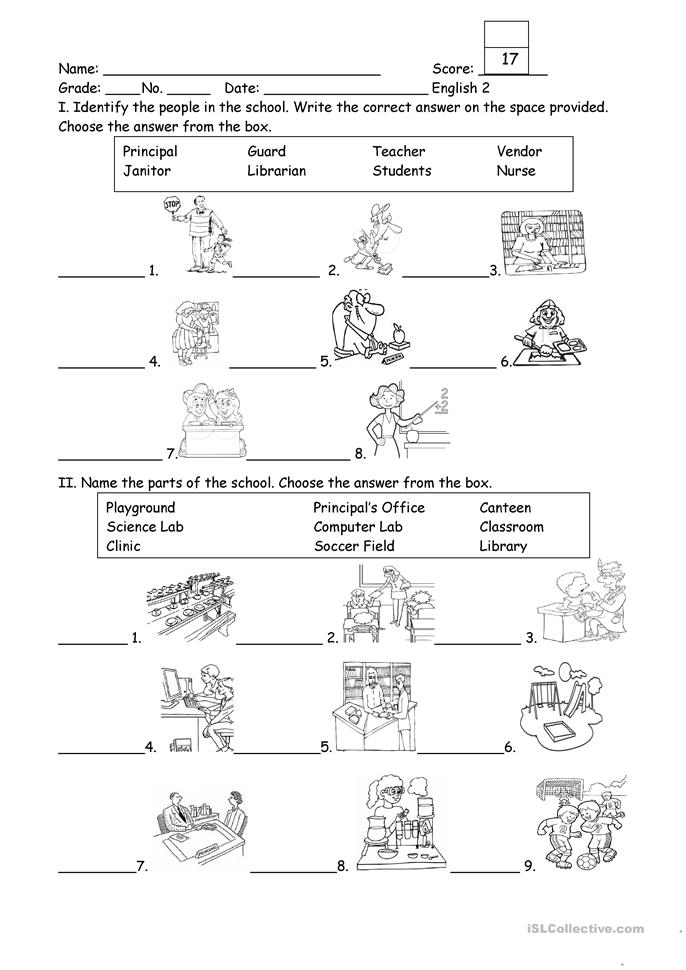 People And Part Of The School Worksheet