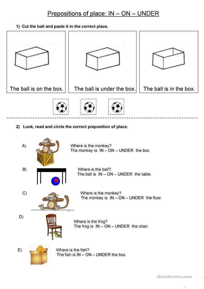 Prepositions Of Place In On Under Worksheet