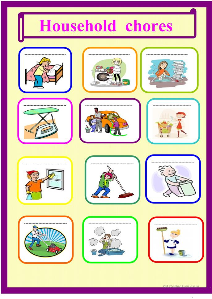 Household Chores For Young Learners Worksheet