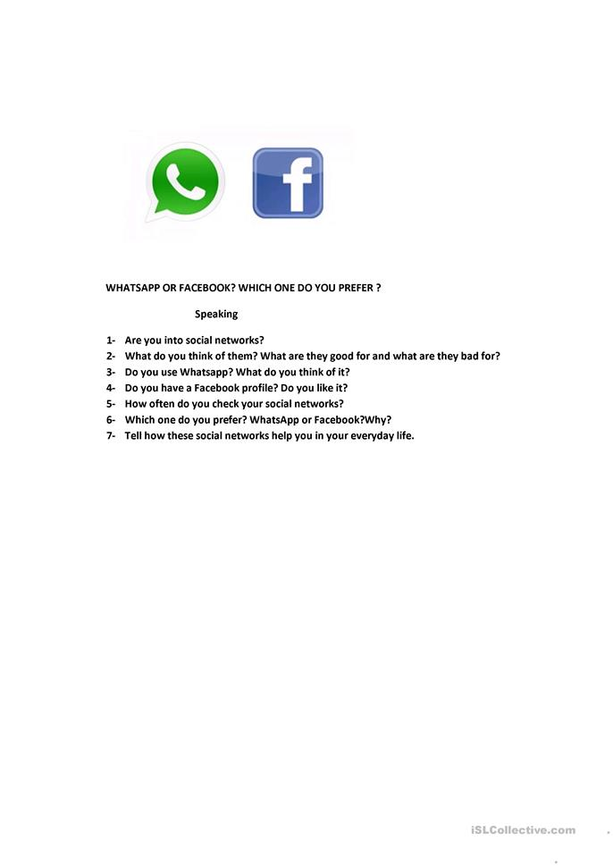 Whatsapp Or Facebook Worksheet