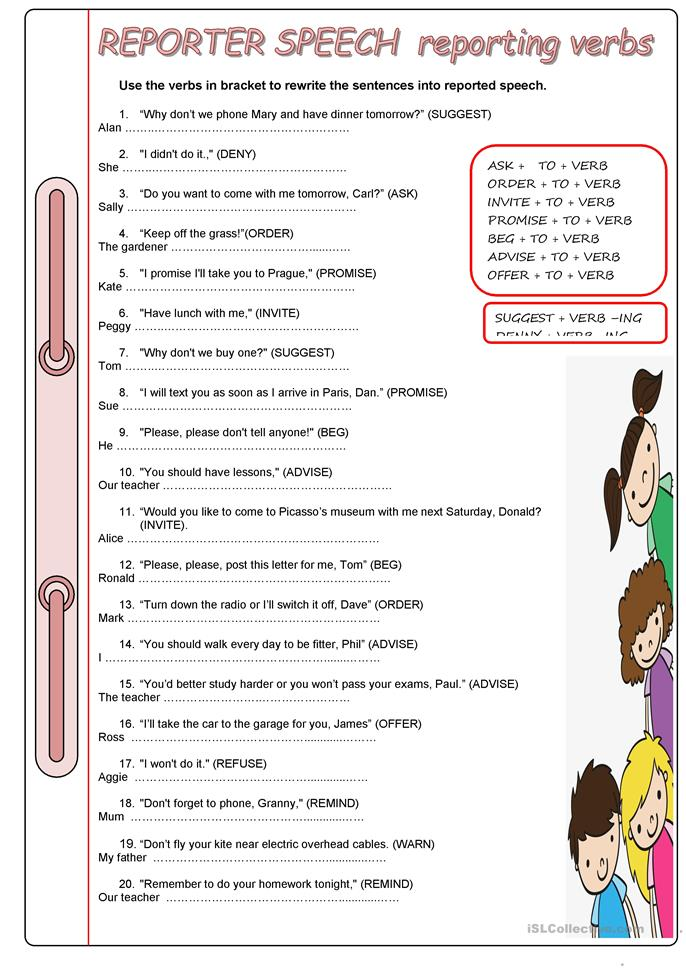 Reporter Reporting Verbs Worksheet