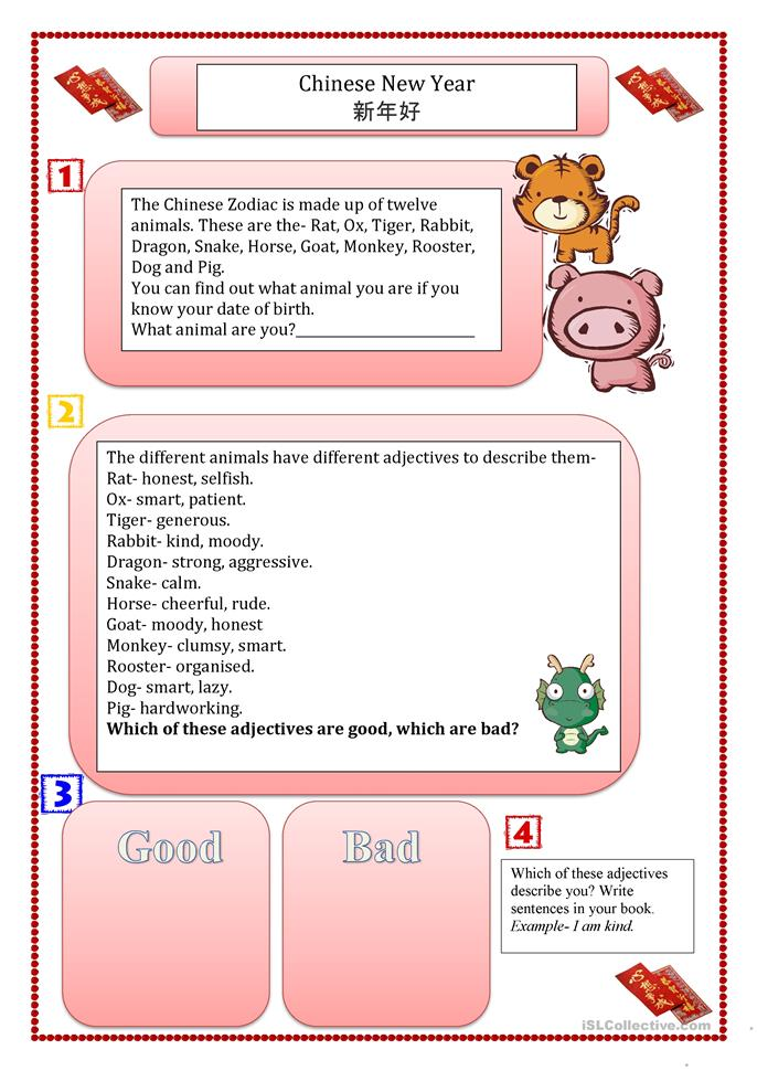 Chinese New Year Printable Worksheets