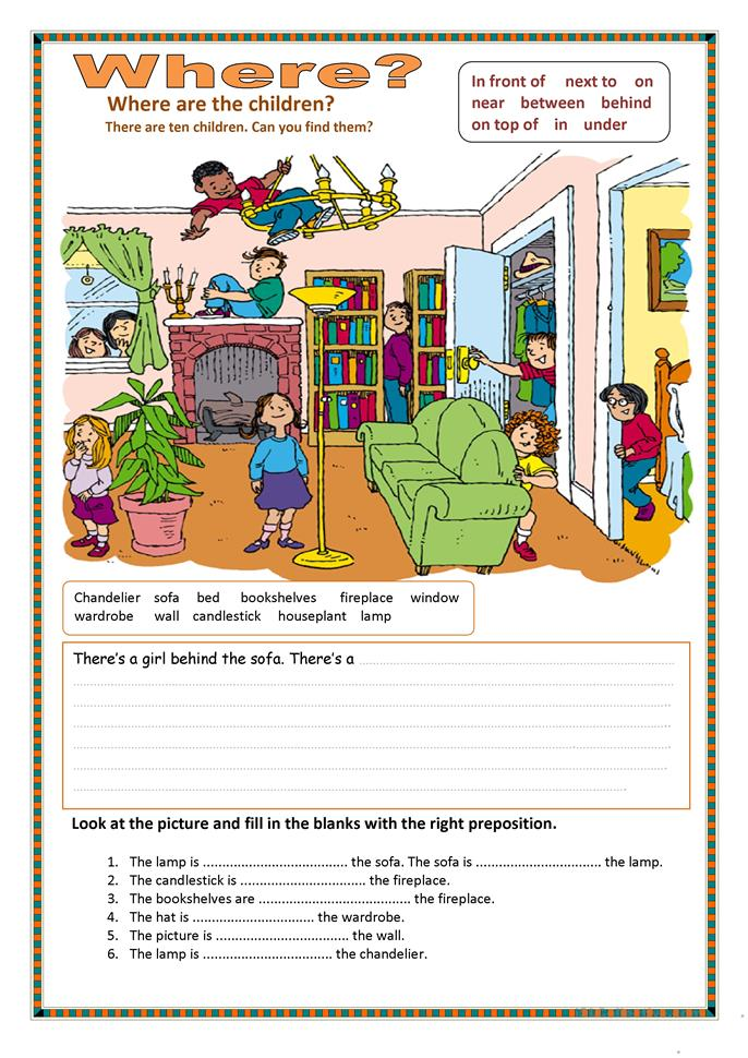 Prepositions Of Place 2 Worksheet