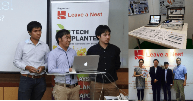 ■1. left: team members when they gave presentation at TECH PLAN DEMO DAY in Thailand ■2. right above: at Electronic Nose' booth at CEATEC ■3. when they visited Leave a Nest HQ in Tokyo