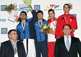 An awarding ceremony for the men's A8 -68kg weight category.