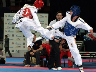 The men's A8 -58kg final match between Spain's Athami Jose Satana (right) and Iran's Mehdi Pour Rahnama.