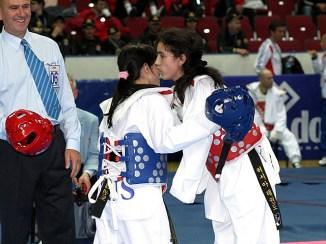 The women's A5,6 -49kg final match between Russia's Dilyara Sheykhakhmedova (right) and her compatriot Anastasya Papizhuk.