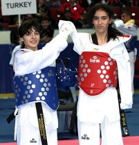 The women's A5,6 -49kg final match between Russia's Dilyara Sheykhakhmedova (right) and her compatriot Anastasya Papizhuk.