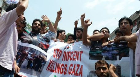 KASHMIRIS SLAM ISRAELI ONSLAUGHT ON GAZA STRIP