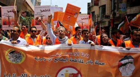 Palestinians in Ramallah urge boycott of Israeli goods