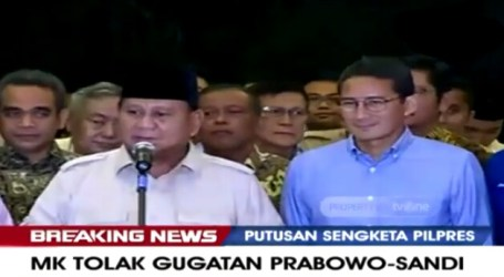 Prabowo-Sandi Respects Constitutional Court Judge's Decision
