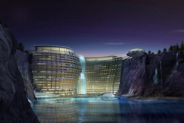dezeen_Cave-hotel-underway-in-water-filled-Chinese-quarry_ban
