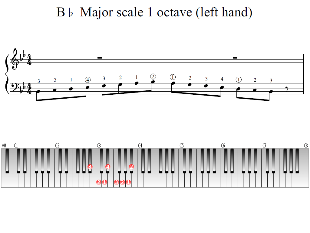 B Flat Major Scale 1 Octave Left Hand