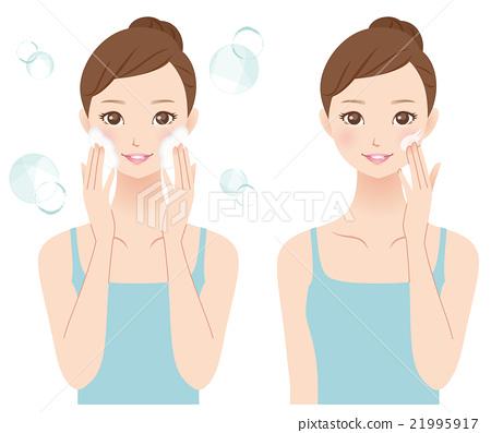 女性的美容護膚洗面奶-插圖素材 [21995917] - PIXTA圖庫
