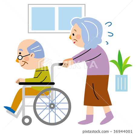 照顧老人-插圖素材 [36944001] - PIXTA圖庫