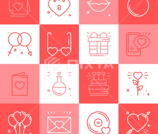 Love Line Icons Set Happy Valentine Day Signs And