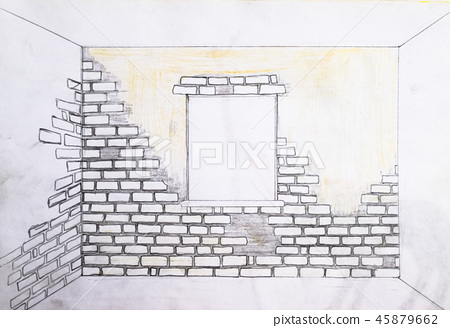 Wall Of Bricks And A Window Drawing With A Stock Illustration 45879662 Pixta