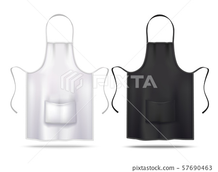 A perfectly rendered men and women kitchen apron mockup. White And Black Apron Mockup Set In Realistic Stock Illustration 57690463 Pixta