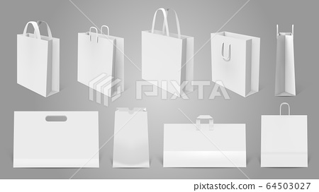 The psd file is fully editable, allowing you to change the background and apply your own design easily via the smart object. Realistic Shopping Bag White Paper Empty Bags Stock Illustration 64503027 Pixta
