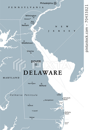 You are free to use this map for educational purposes (fair use); Delaware De Gray Political Map State In Stock Illustration 70433821 Pixta