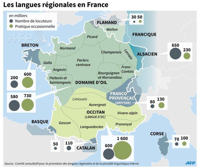 France - langues régionales • Map • PopulationData.net