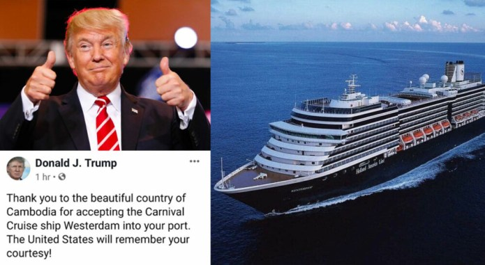 US President thanks Cambodia for allowing MS Westerdam cruise ship to dock