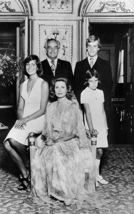 In 2002, to  ensure the succession to the throne and to guarantee the preservation of  the 700-year-old Grimaldi dynasty, some changes were made in the Monaco  constitution. The amendments state that siblings, nephews and nieces of  a ruler have the right to inherit the throne. After Albert, the throne  could therefore be passed on to his sisters - Stephanie and Carolina -  or any of their seven children. In the photo: Grimaldi family (1975): Prince Rainier, Grace Kelly,  Prince Albert II and his sisters, Stephanie and Carolina.