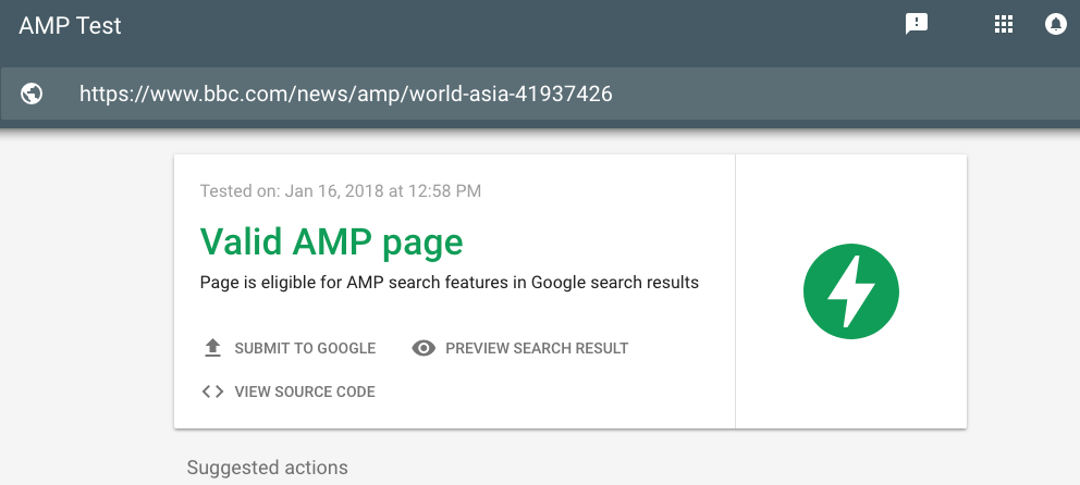 Test Accelerated Mobile Pages with Google's AMP test tool
