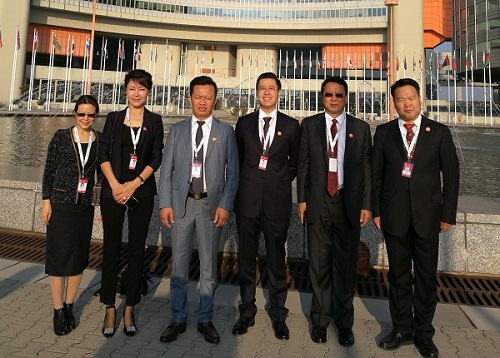 CEO Caesara Niu (First from Left) in Front of Vienna International Center