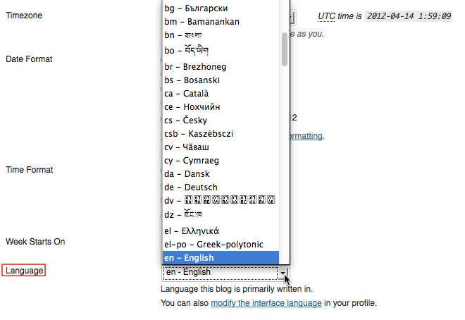 Blog Language Settings