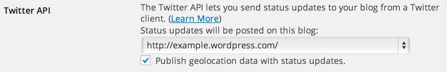Personal Settings - Twitter API