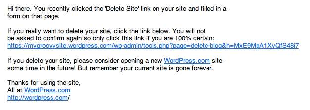 Delete site email confirmation
