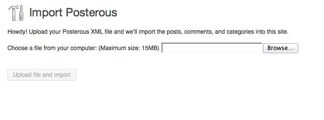 Upload Posterous XML File