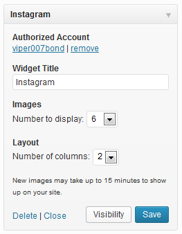 Instagram Widget Configuration