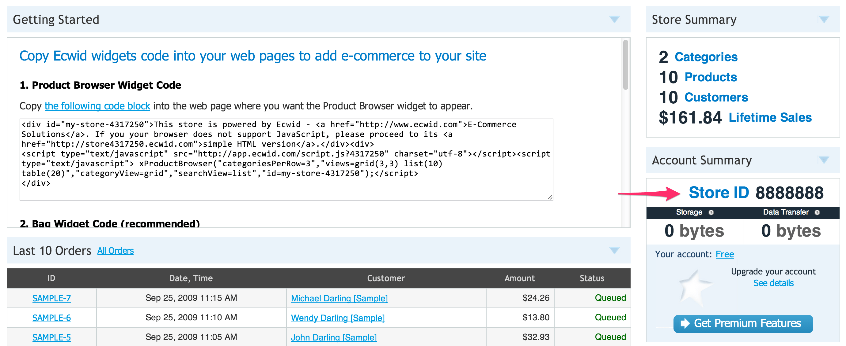 You can find your store ID in your Ecwid dashboard, under Account Summary
