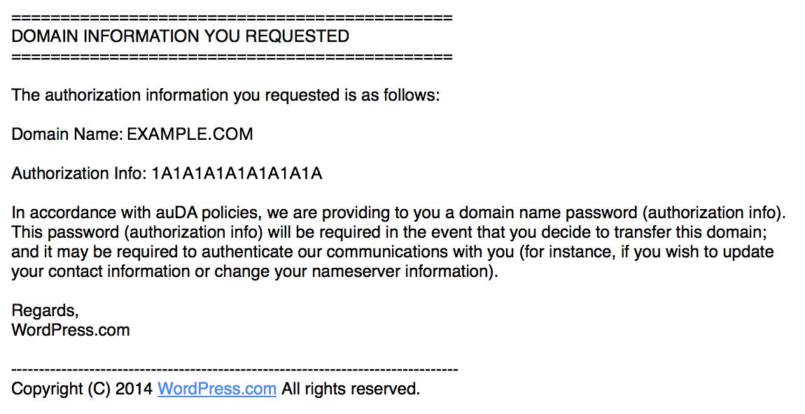 ドメイン移管用認証メールの例